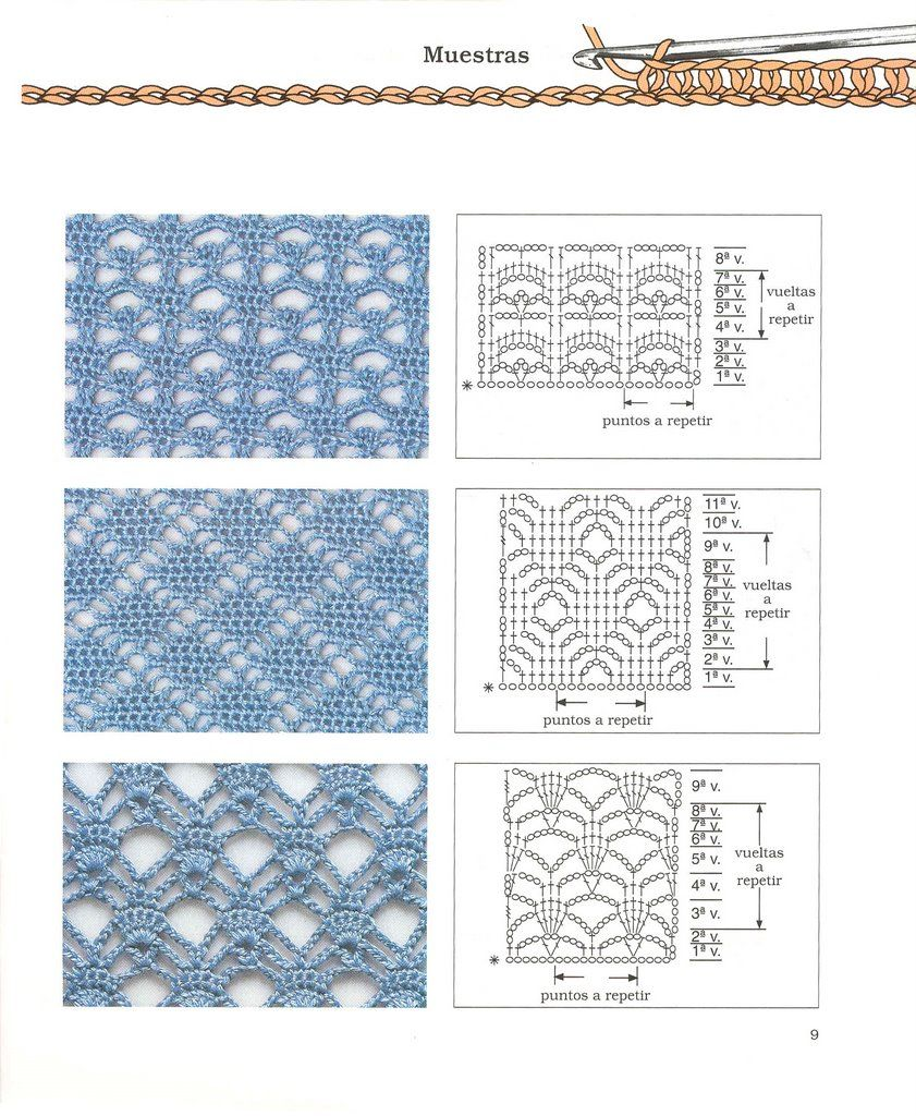 Fashion ganchillo crochet patterns puntos diagramas esquemas ...