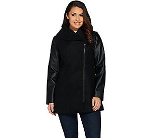 Lisa Rinna Collection Coat with Faux Leather Sleeves