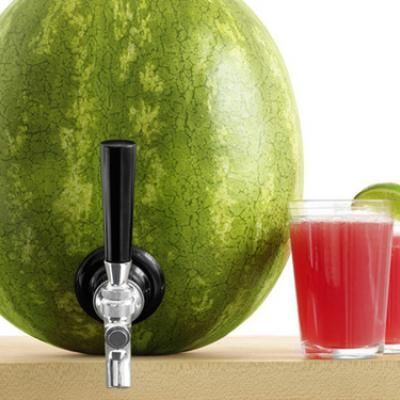 Wouldn't this be a fun for a Fourth of July party? Scoop out the watermelon and have that with a barbecue, and then cut a hole to fit a keg shank. Fill with drink of choice (watermelon sours would be perfect, but any summery, pulp-free drink would do), et voila.