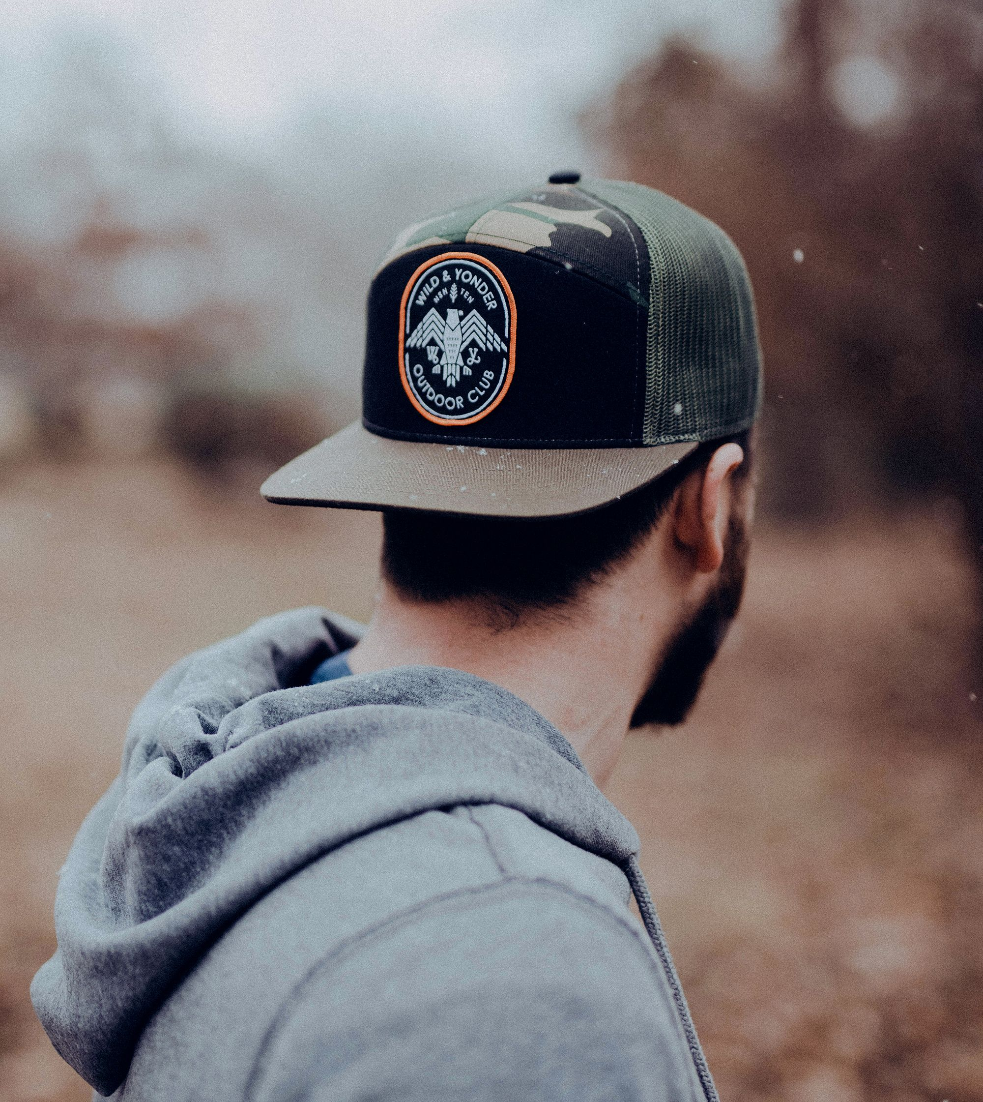 9f736a541 The Camo 7-Panel Trucker. Cotton twill & mesh, with a flat bill ...