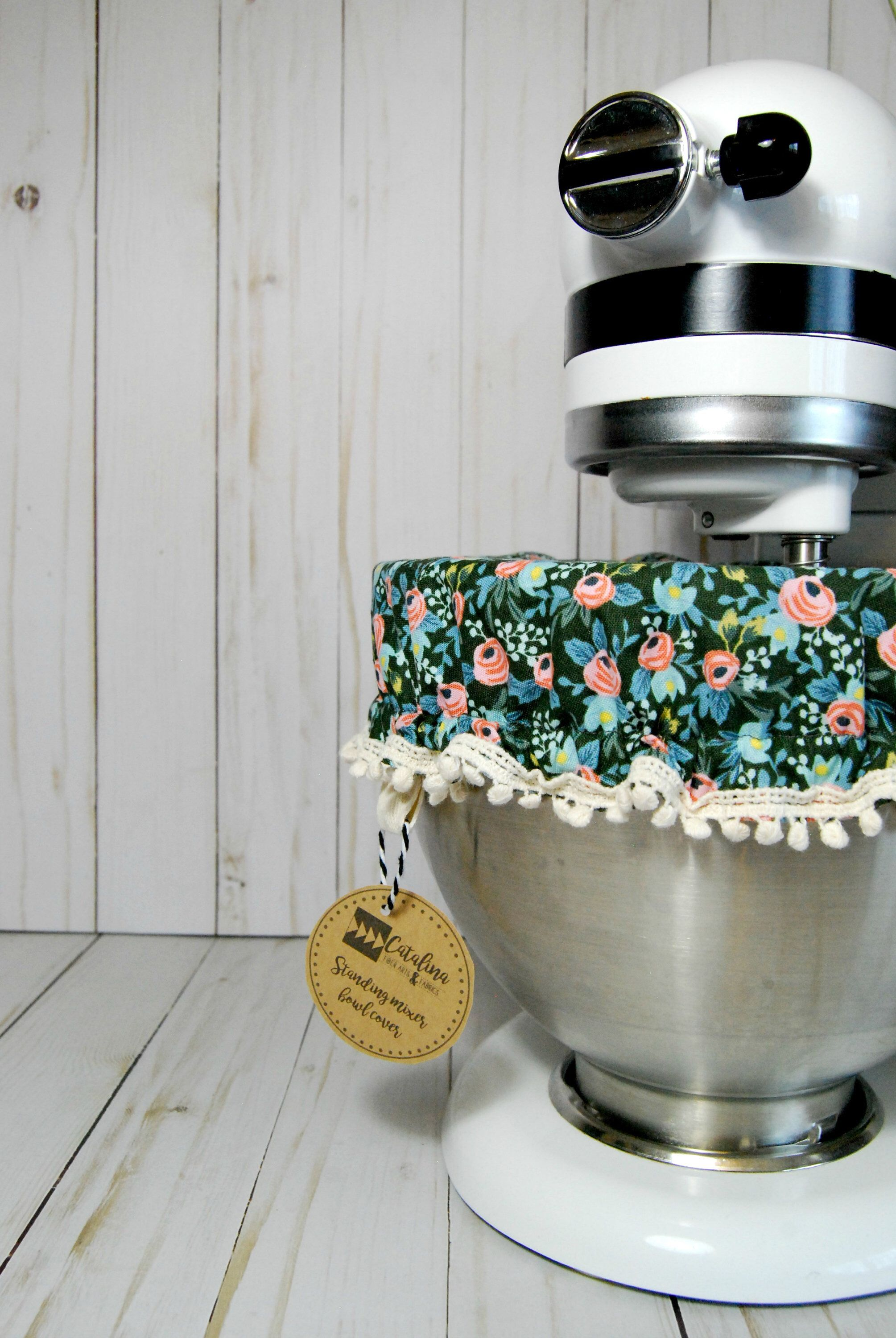Kitchen Stand Mixer Bowl Cover Green Small Floral Rifle Paper Co Fabric