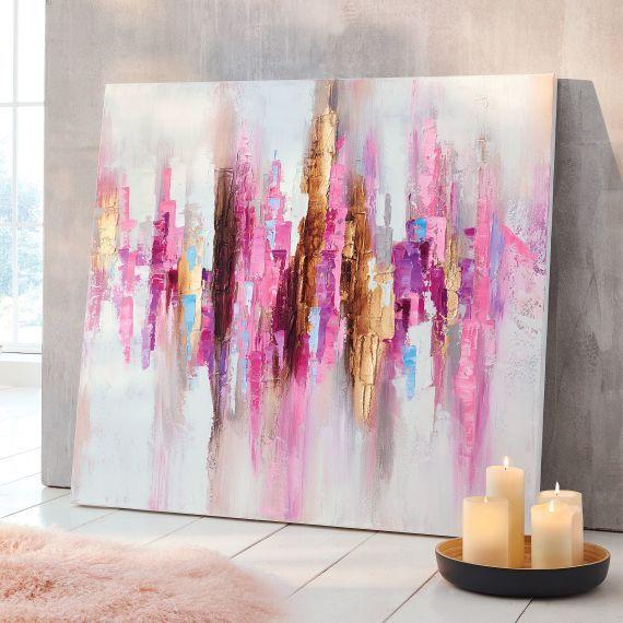 bild pink expression handgemalt acrylbilder abstrakt acryl selber malen einfache abstrakte bilder mit gold