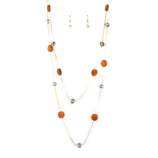 Floating Glass Beads Double Layered Long Necklace