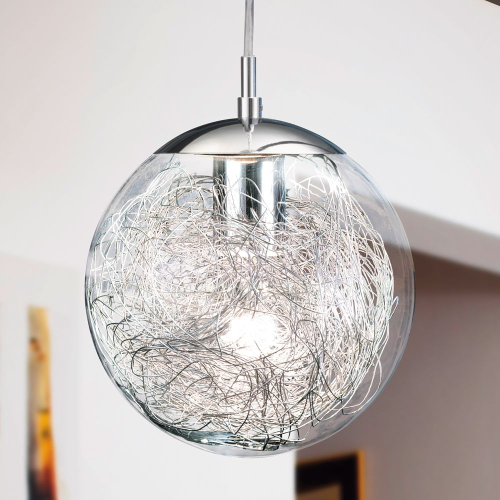 Eglo 93073 luberio glass globe pendant light with for Pendulum light globes
