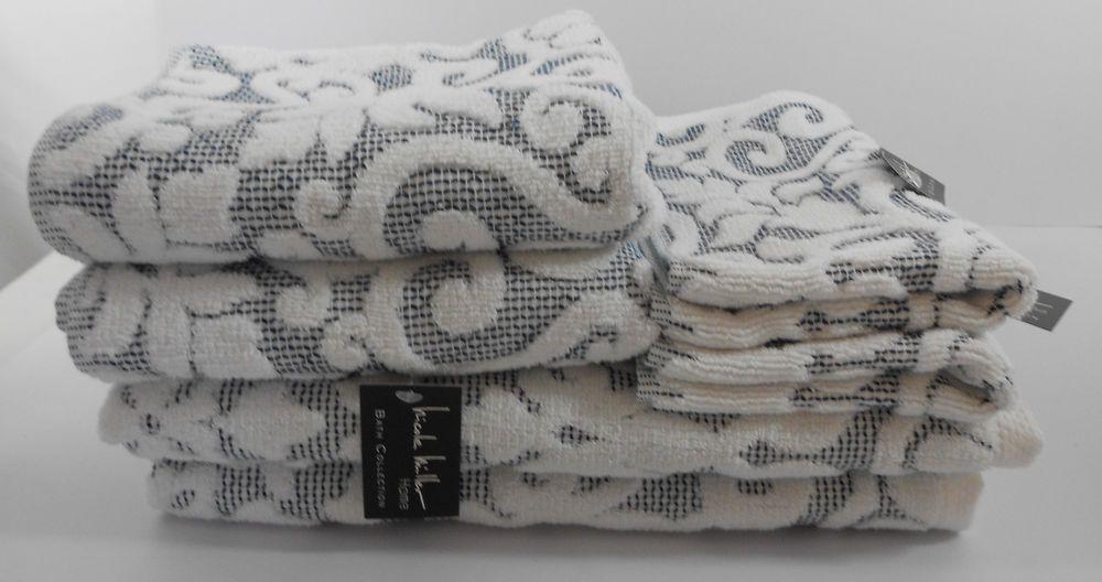 Nicole Miller Home Bath Towels White Damask S6 Bath Hand Wash Cloth