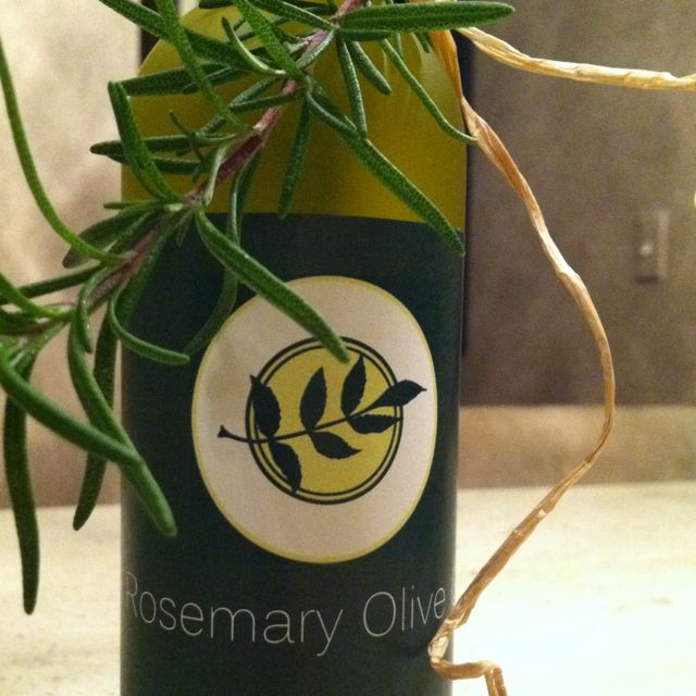 Rosemary infused olive oil made for Christmas gifts for friends.
