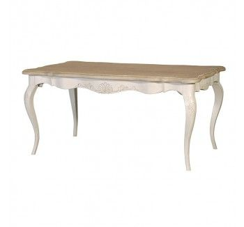 Chamonix French White Painted with Limed Oak Washed Top Dining Table
