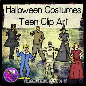 Teens in Halloween Costume Fancy Dress clip art - color and black line! Cat, zombie, witch, clown, mummy and vampire! $