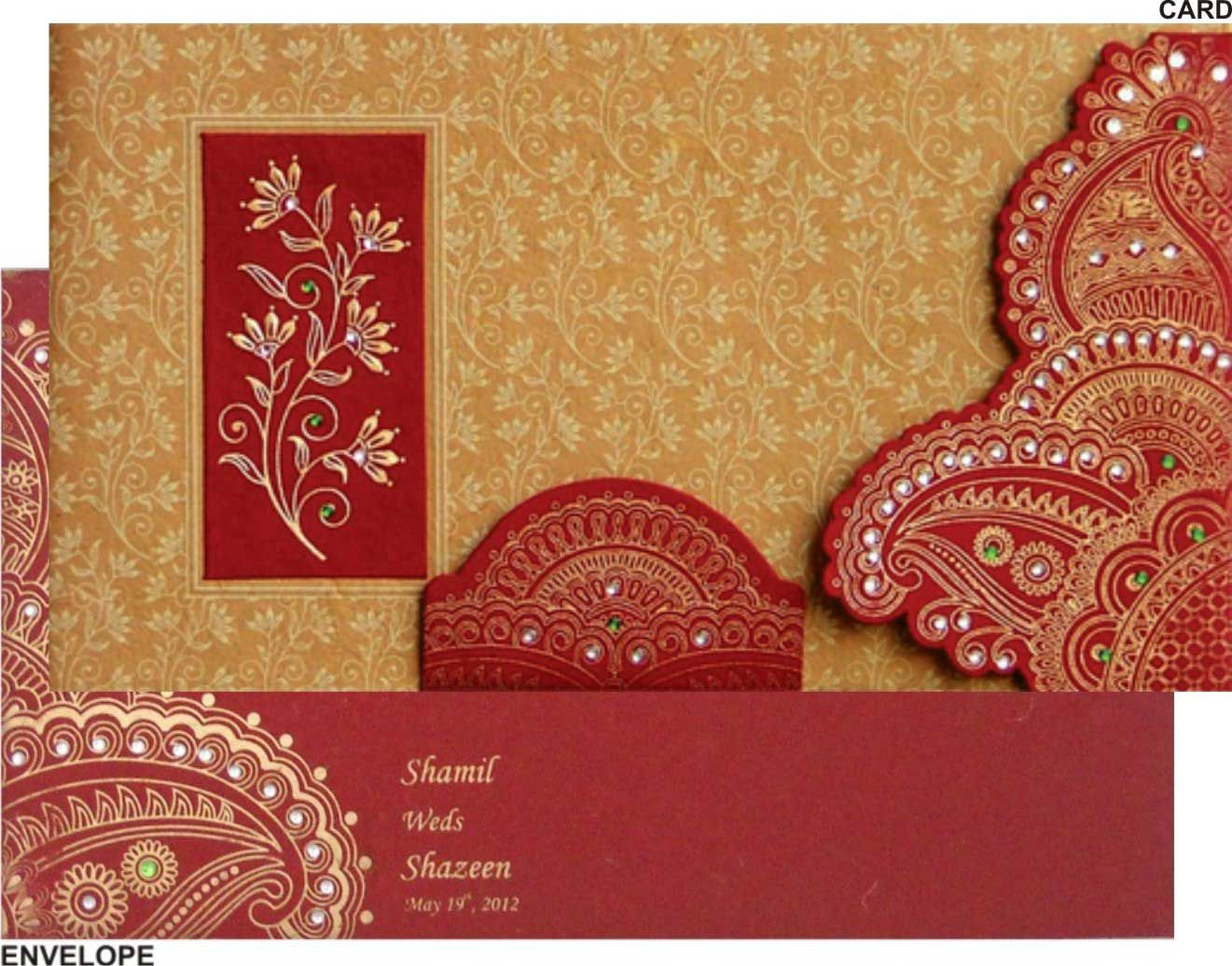 Wedding Wedding Cards wedding card in elegant gift style with red golden satin royal indian cards 02 weddings weddingdresses