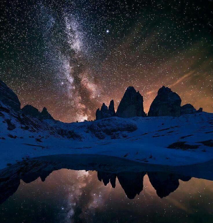 Blue Marble Dolomites Night Photography Milky Way Milky Way Galaxy