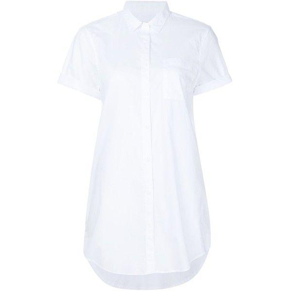 Onia 'Jesse' shirt dress (£155) ❤ liked on Polyvore featuring dresses, white, white dress, white shirt dress, white cotton dress, long shirt dress and cotton dress