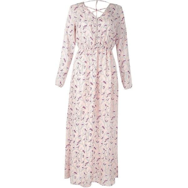Boohoo Petite Jennifer Floral Cage Back Maxi Dress ($40) ❤ liked on Polyvore featuring dresses, pink floral dress, petite cocktail dress, petite dresses, cocktail maxi dresses and flower print maxi dress