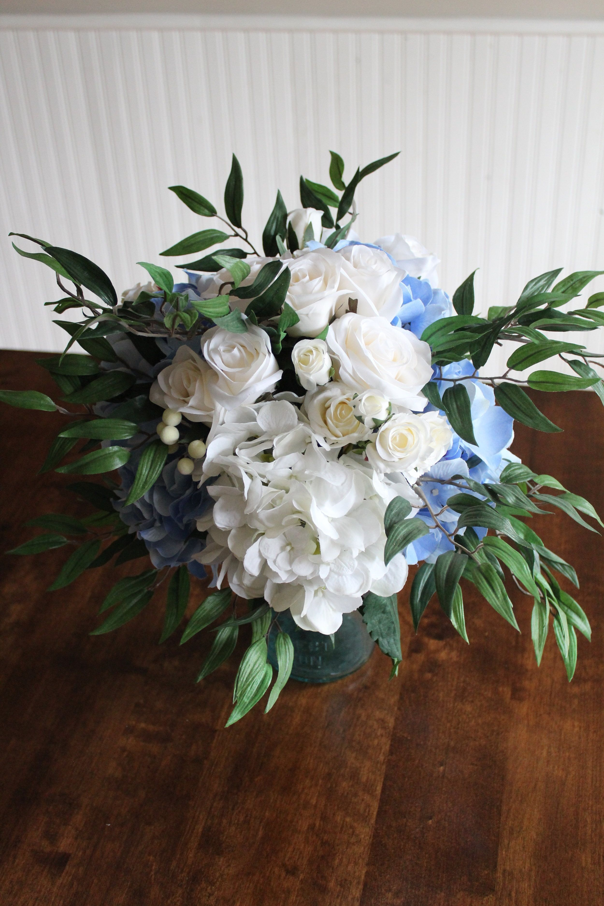 Silk Bridal Bouquet Recreation in Ivory and Blue #silkbridalbouquet Silk Bridal Bouquet Recreation in Ivory and Blue #silkbridalbouquet