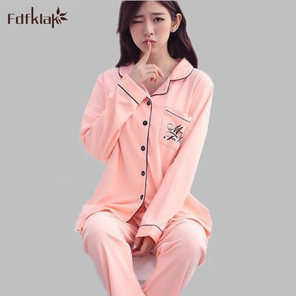 8c58d6dd3b High quality cotton pajama set turn-down collar ladies pajamas sleepwear  pyjamas women pijamas de mujer tracksuit 2 piece S0071