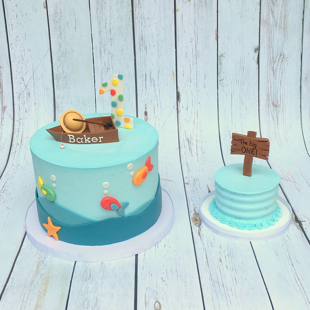 The Big One Fishing Cake and Smash Cake Berean Bakes Pinterest