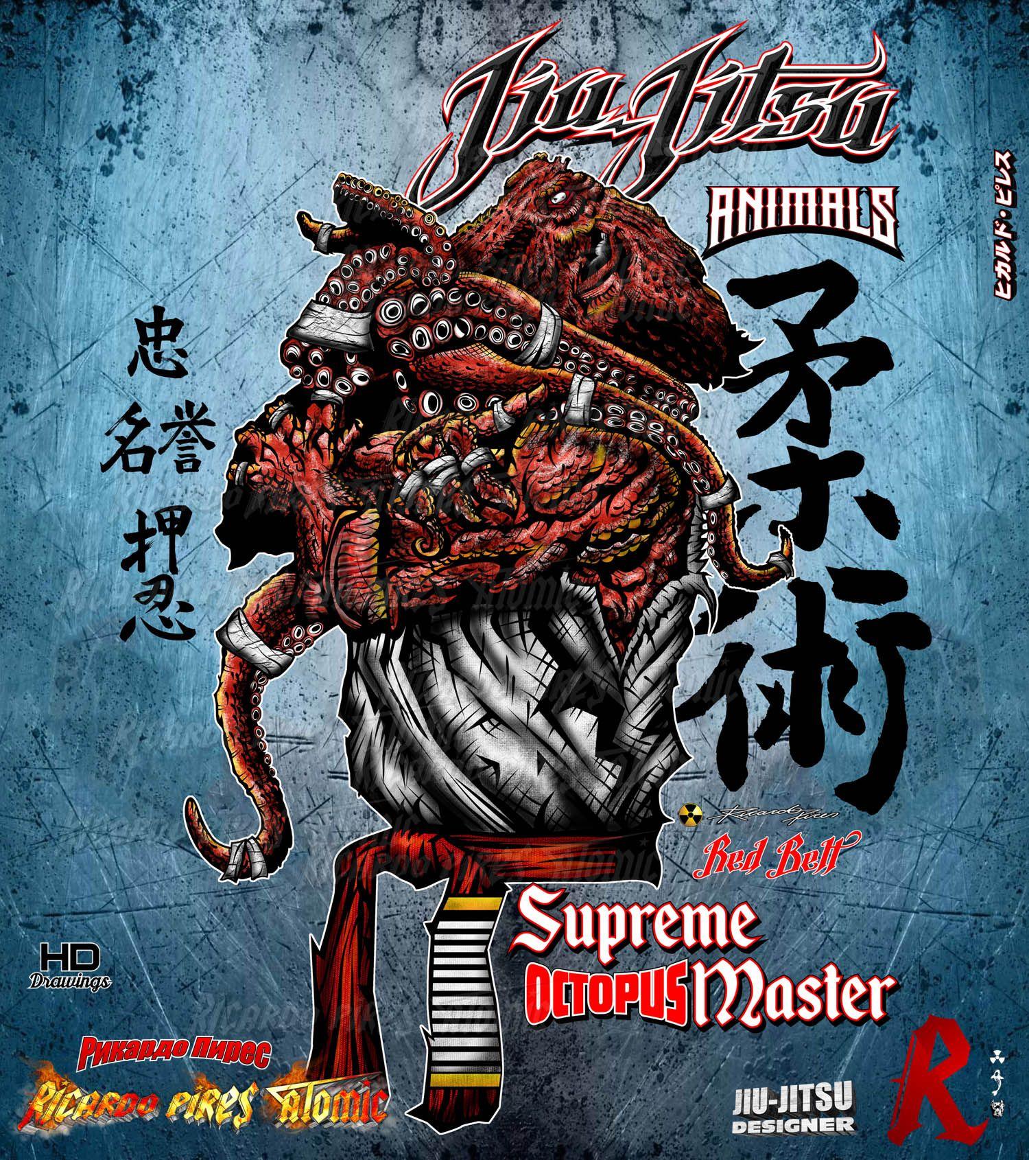Jiu-Jitsu Octopus Supreme Master Red Belt Drawings for Sale