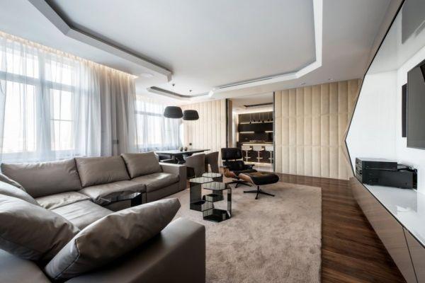 Dominion – A Futuristic Moscow Apartment With Custom Interior Design