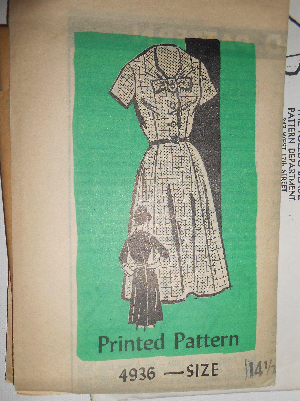 Vintage 60s Bow Neck Shirtwaist Dress, Front Button