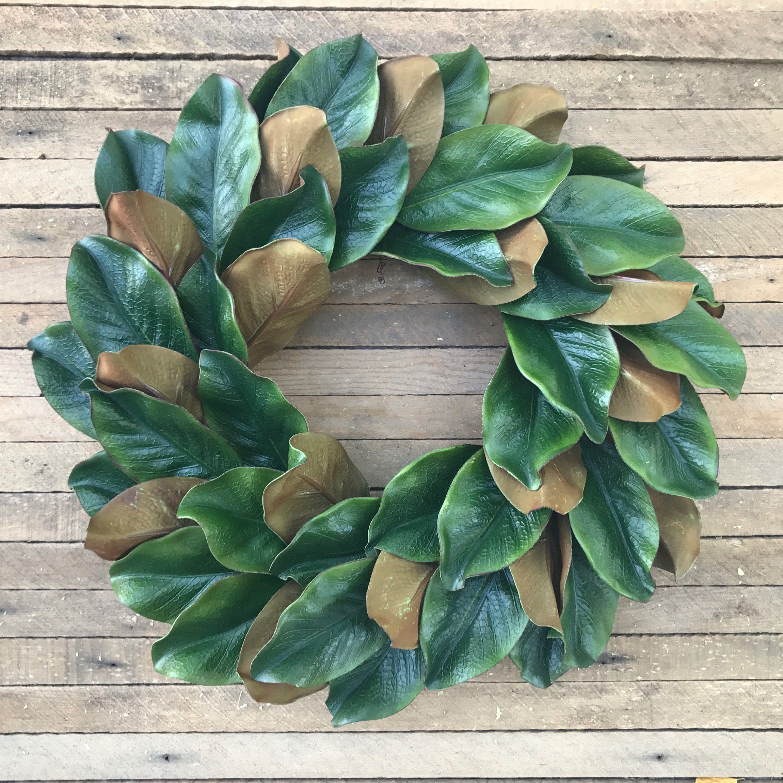 Photo of Magnolia Wreath, Fall Wreath, Farmhouse Wreath, Two Toned Magnolia Wreath, Grapevine Wreath, Front Door Wreath, Wall Decor, Winter Wreath