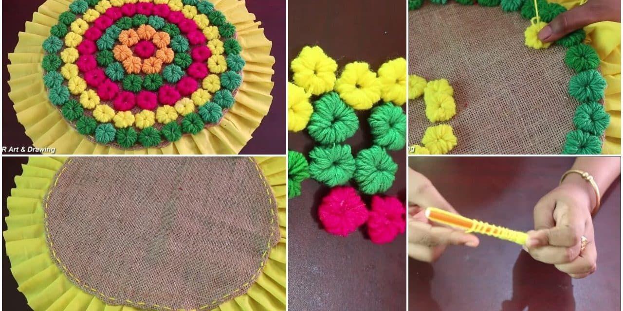 How To Make Doormat Using Woolen Thread Crafts Diy Textiles Diy Handmade