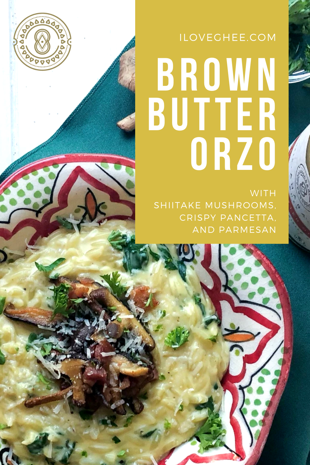 One of the most requested side dishes.  Try this healthy and flavorful orzo dish made with Ahara Brown Butter Ghee.   #pancetta #healthy #organic #mushroom #betterthanbutter #nutritious #eatrealfood #organicghee #ayurveda #iloveghee
