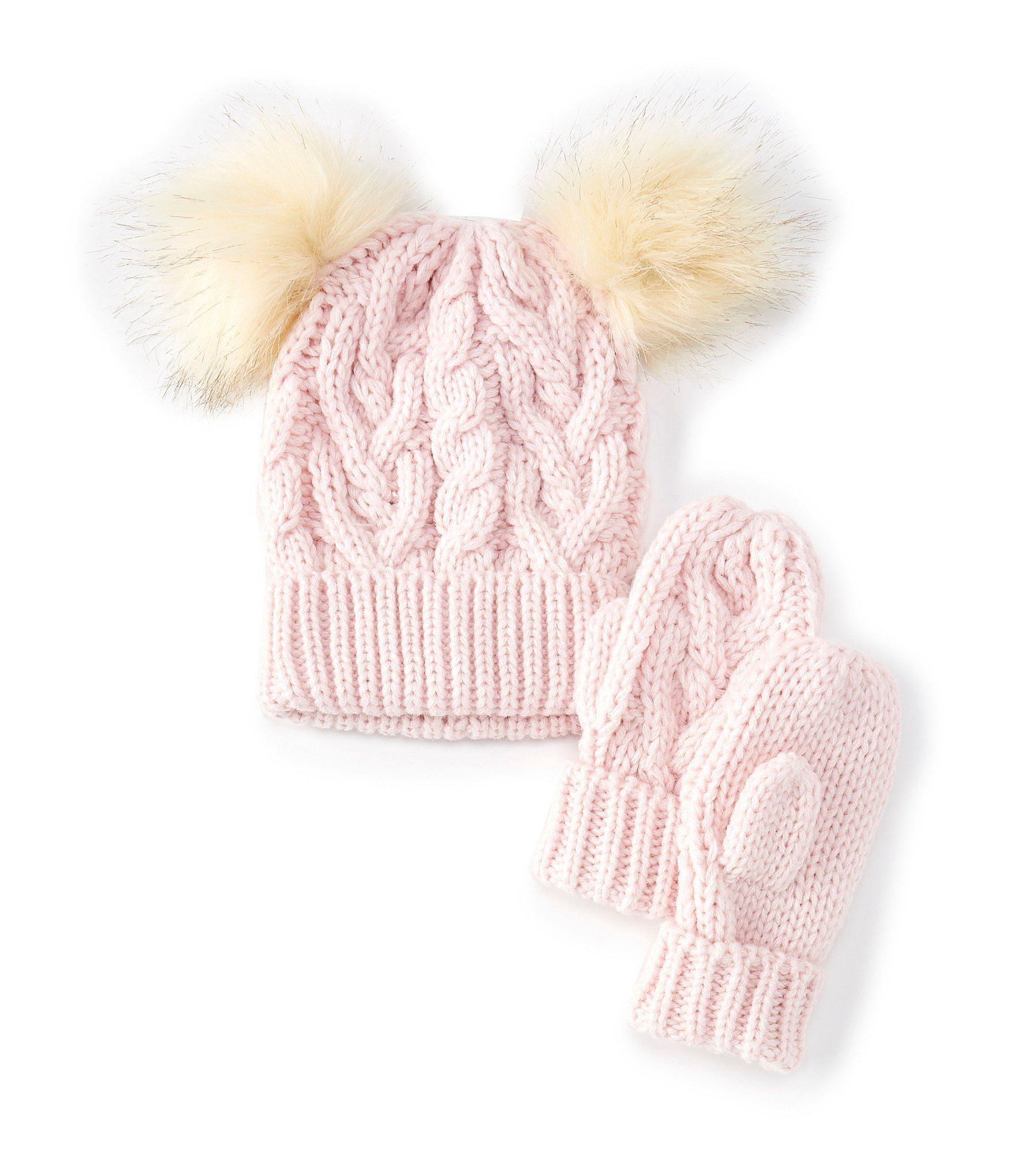 Photo of Starting Out Baby Girls Double-Pom Cable Knit Hat  Mittens Set – Pink Infant