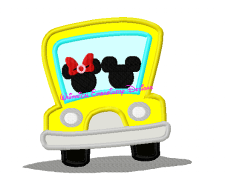 mickey minnie school bus www whimsicalembroiderydesigns com rh pinterest com Mickey Mouse Thanksgiving Clip Art Old School Mickey Mouse Cartoons