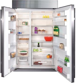 Sub-Zero BI48SSTH 48 Inch Built-in Side-by-Side Refrigerator with 28.9 cu. ft. Capacity, 4 Adjustable Spillproof Shelves, Dual Refrigeration, Microprocessor Control, Air Purification, Water Filtration, Ice Maker and ENERGY STAR Rated: Stainless Steel with Tubular Handles