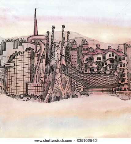 2c26aa65237 the panoramic view of Barcelona city hand drawn on the wallpaper isolated  on the color background - stock photo