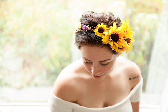 Photo of Sunflower crown, sunflower wedding, festival hair wreath, yellow hair halo, bridal head piece, sunflower and pearls, summer wedding wreath