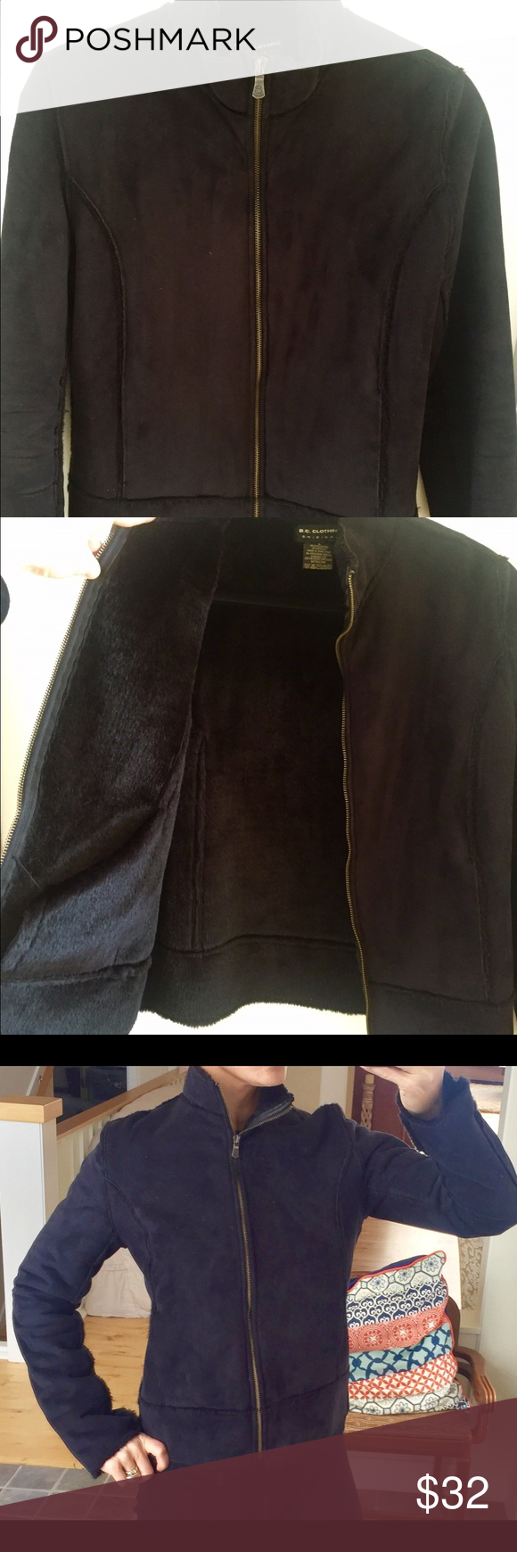 Warm suede/fur like jacket. This jacket is super warm. Wears well/sleek looking fit. Great dressed up or just with jeans. No damages noted to jacket BC Clothing Original  Jackets & Coats