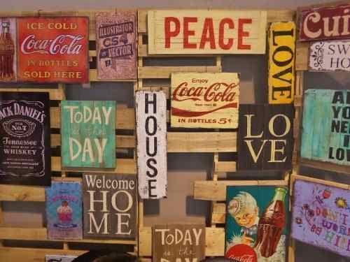 Carteles cuadros vintage palabras retro madera reciclada decoracion pinterest - Carteles retro ...