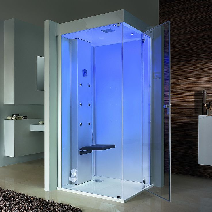Harmony For Body And Mind Senseease Unites The Steam Bath And The Shower Into A Single Product And Can Also Be Ideally I Shower Cubicles Cubicle Steam Showers