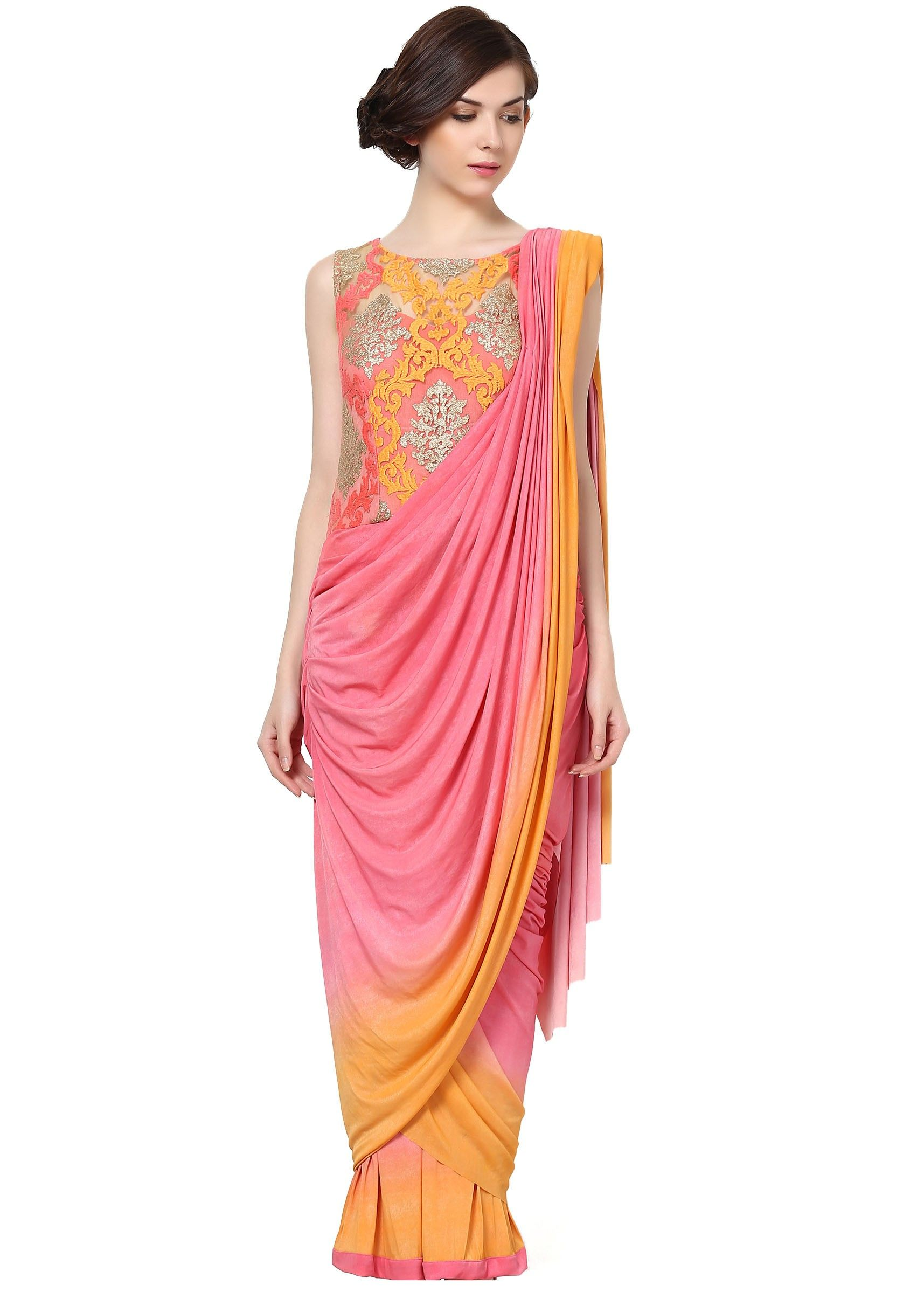 Pink and yellow gown embellished in zari embroidery indian wedding