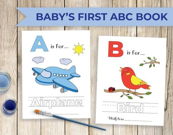Printable Abc Coloring Book Baby S First Abc Book For Blue Themed Shower Baby Shower Alphabet Book Baby Shower Activity Coloring Pages In 2020 Abc Coloring Abc Printables Alphabet Book