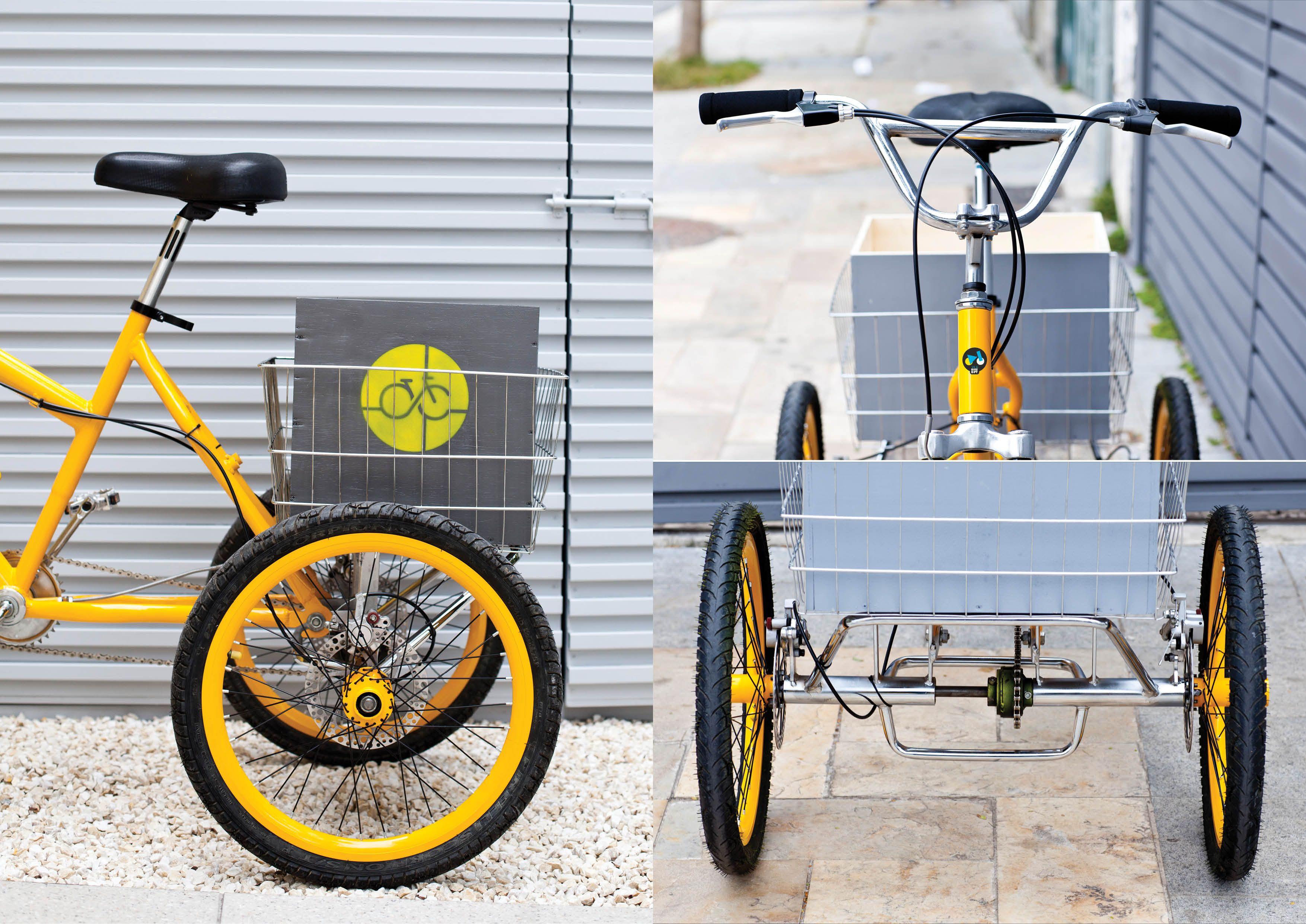 'Antes e depois' da customização do triciclo para Studio Velocity. Foto de Raquel Espirito Santo