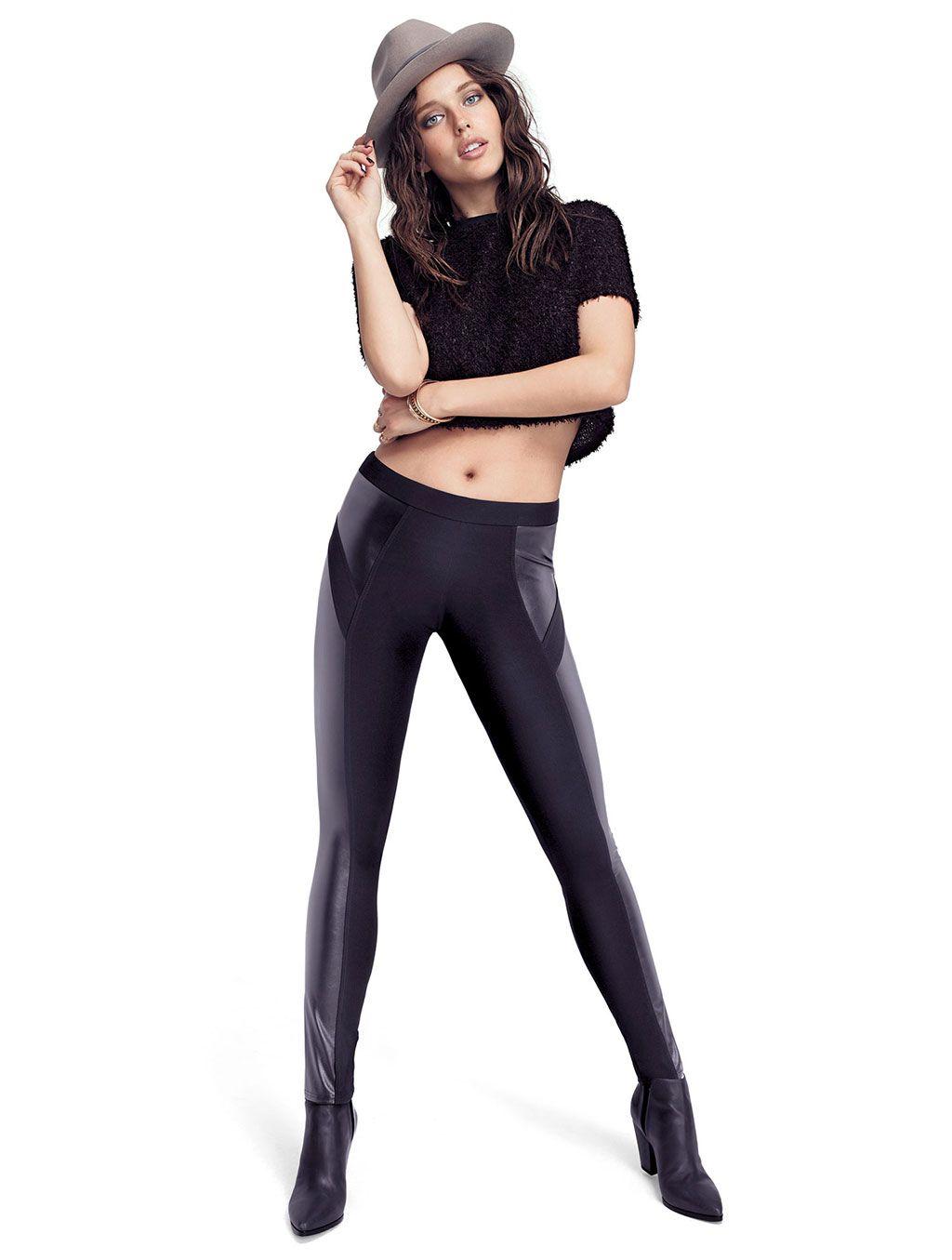 Leggings corto al ginocchio con pizzo Donna leggings pantacolant neri