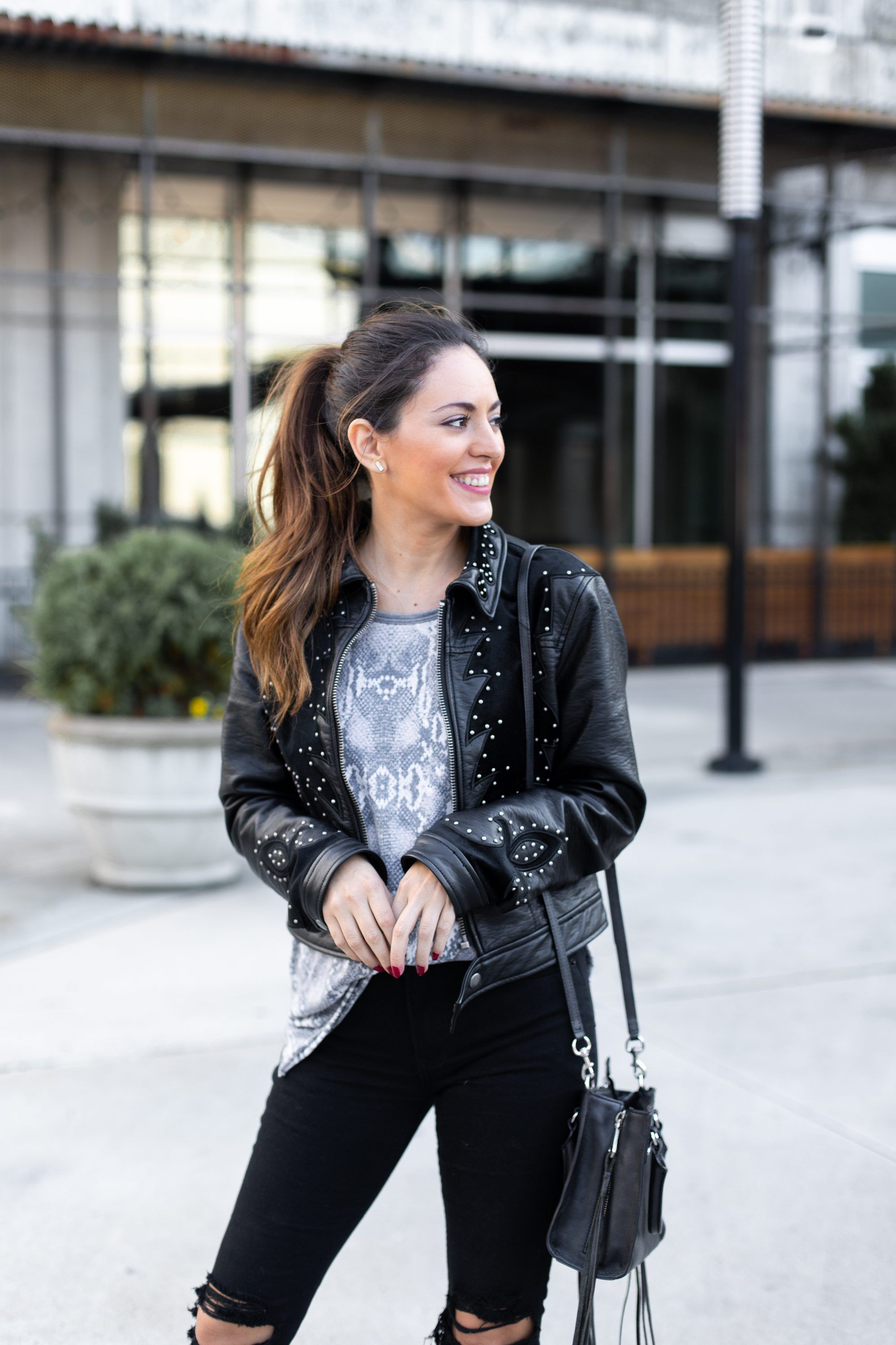 Casual Snakeskin Lush To Blush Edgy Fall Outfits Casual Fall Outfits Studded Leather Jacket [ 3000 x 2000 Pixel ]