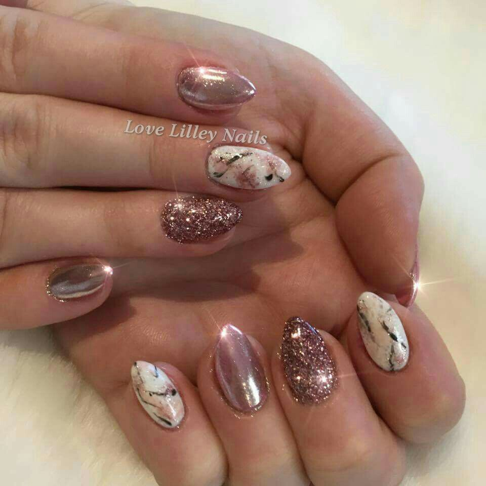 Rose Gold Chrome, Glitter and Marble Effect Nails. Using Gelish, The ...