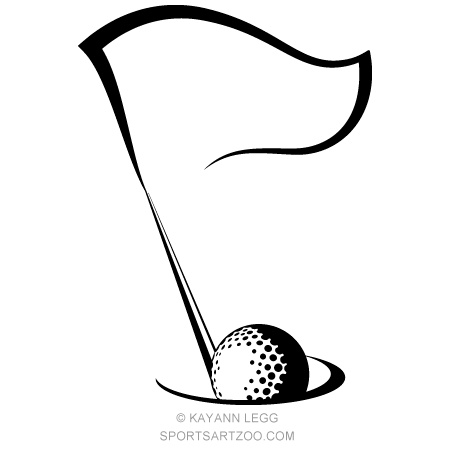 Golf Flag In Hole On Green Simple To Create On The Walls Clip Art Golf Clip Art Golf Flag