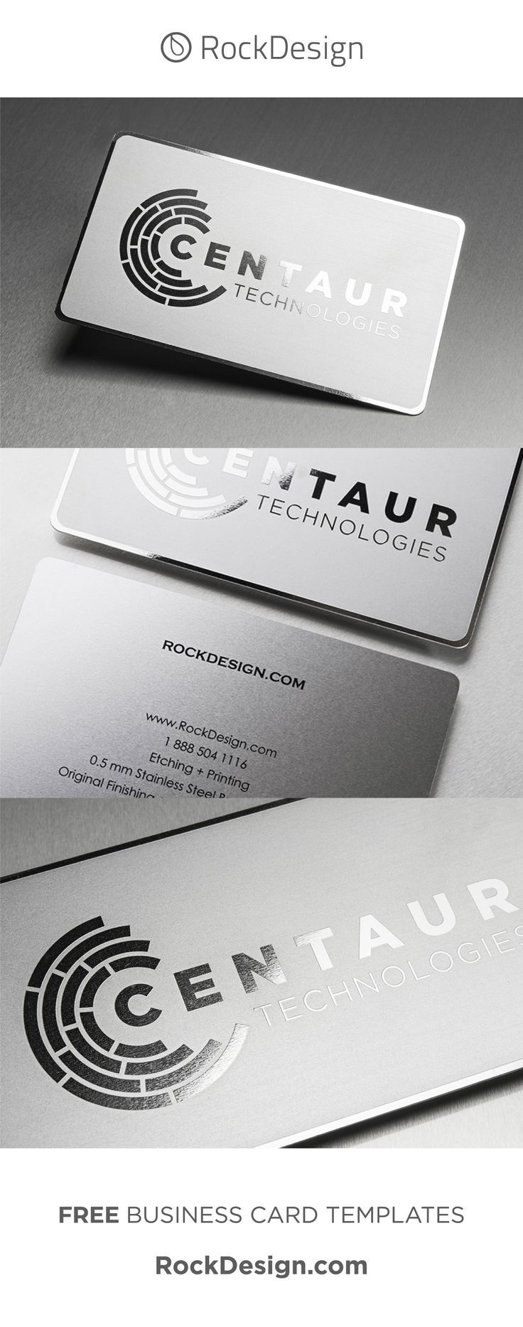 The Centaur Template Is A Versatile Stainless Steel Metal Business Card That Uses Etchi Metal Business Cards Free Business Card Templates Unique Business Cards