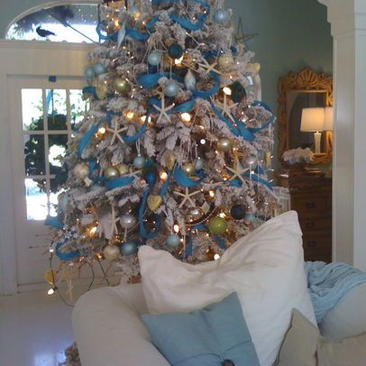 Beach Themed Christmas Tree You Can Use The Balls U Made White Lights Blue Ribbon And Sea Shells And Sea Orn Florida Christmas Holiday Tree Christmas Entry