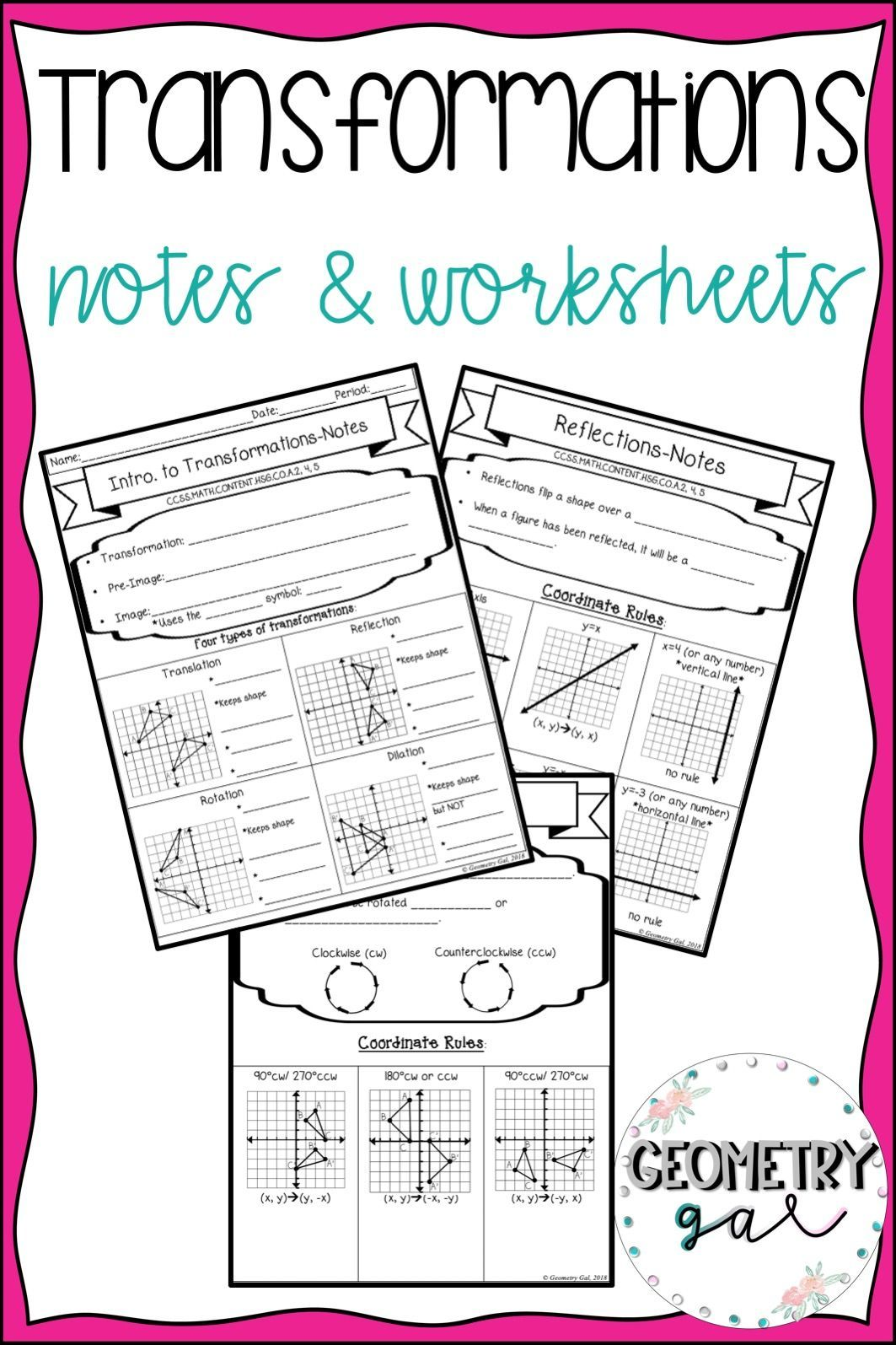 Transformations Guided Notes And Worksheets High School