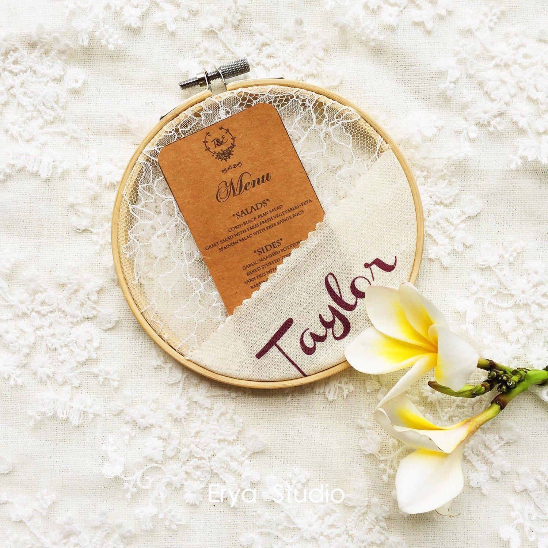 100x Personalized Boho Wedding Fabric Lace Hoop Escort Cards wedding ...