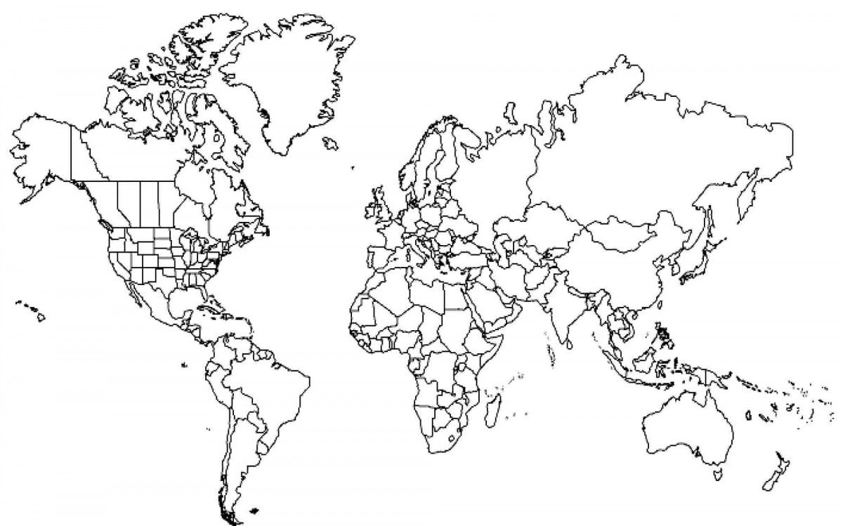Us World Map Outlines modest us map coloring page 8. (1200×749) | World map coloring