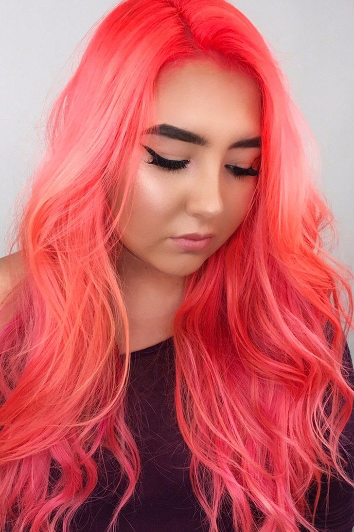 Neon Peach Hair Is Taking Over Instagram And It S As Bright As