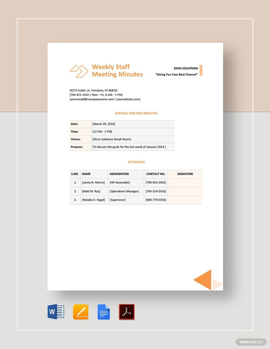 Weekly Staff Meeting Minutes Template Free Pdf Google Docs Word Apple Pages Pdf Template Net Staff Meetings Templates Words Staff meeting minutes template doc