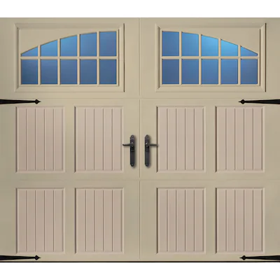 Pella 108 In X 84 In Insulated Wicker Tan Sandtone Single Garage Door With Windows Lowes Com Single Garage Door Garage Door Windows Wooden Garage Doors