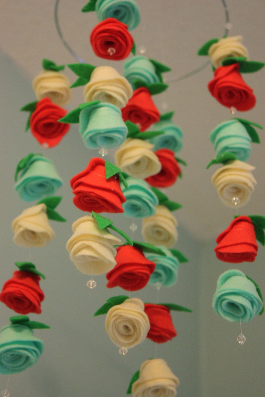 Felt Flower Hanging Crib Rose Mobile Red Coral, Ivory, and Light ...
