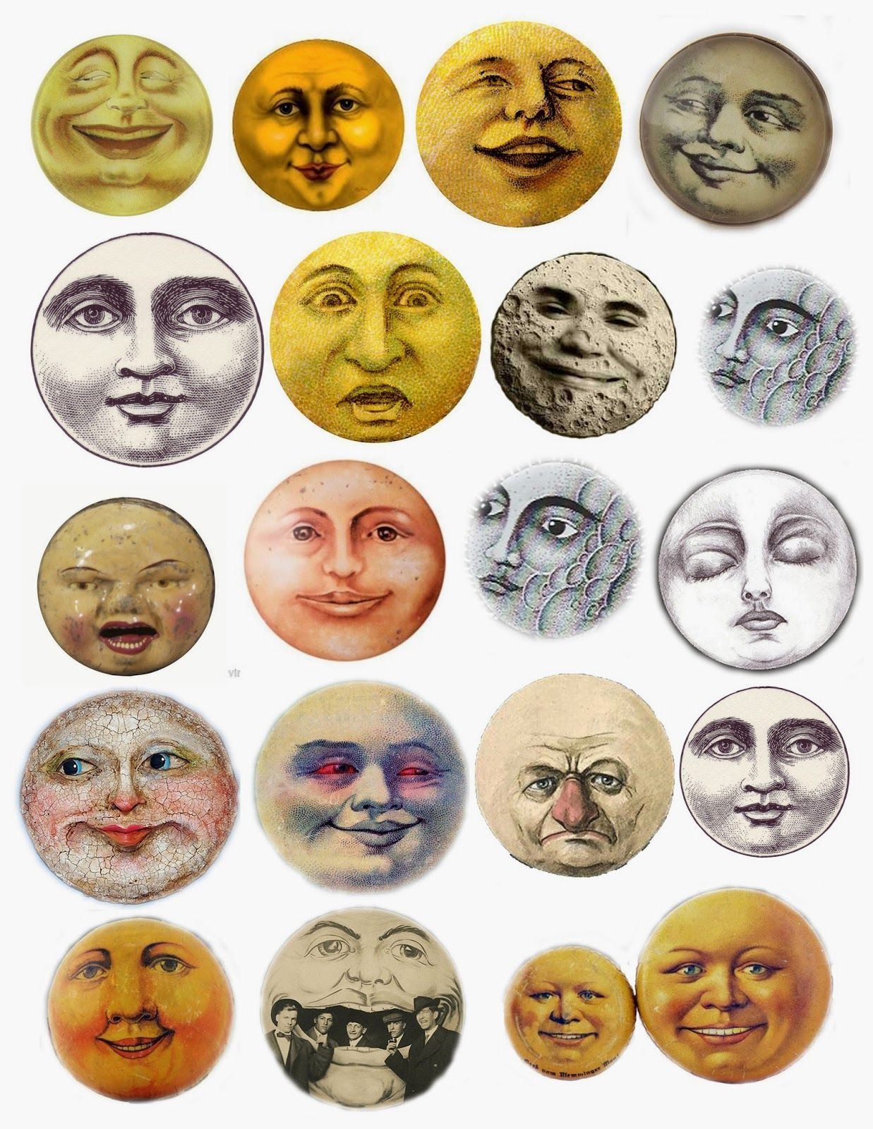 moon faces collage sheet free printable [ 1237 x 1600 Pixel ]